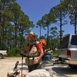 Me preparing to hike 5 miles to primitive camp site. Too much stuff!