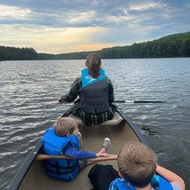 Beautiful morning canoeing on the lake