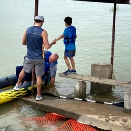 Partially submerged platforms made things unsafe and difficult to load the kayak.