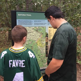 Map of trails at camp entrance
