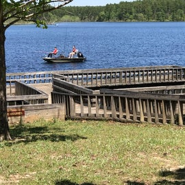 Fishing pier in day use area between RV and tent campgrounds