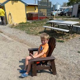 relaxing in kids' chair