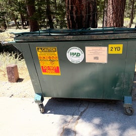 Bear safe dumpsters provided for trash (much more convenient than sites that require you to pack it out)