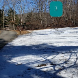 Devil's Hopyard Site 1, 2, 3 it was still covered with snow, but you can see how open they are and slight slope