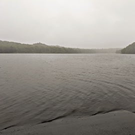 Motorized boat launch for the Raquette River.  Rainy morning.