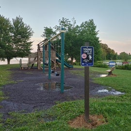 Hopefully, in this picture you can better see the water on both sides of the playground.