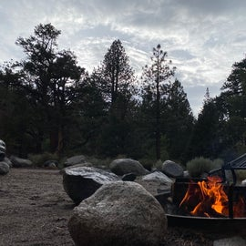 Campfire view with a river flowing in the background behind the trees