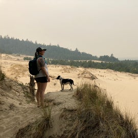 hike through dunes from camp to beach