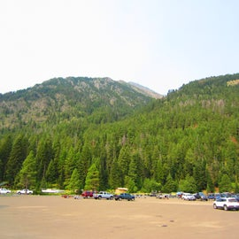 huge parking lot at Marina and day use area with Mountain View's