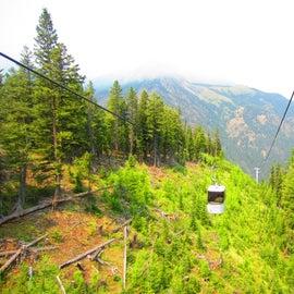 Tram going down the mountain
