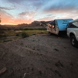Camp site at sunset