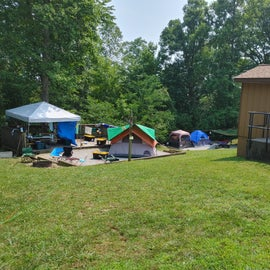 Example of a campsite that had a tent over in the main portion not (Clifty).