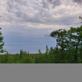 view of Lake superior from top of the flow trail