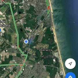 The blue dot shows where the campground is in relation to the ocean.