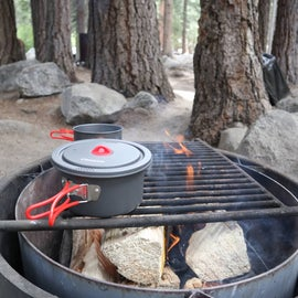 Fire ring and a stove right next to it
