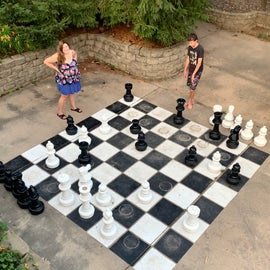 Full size chess and checkerboards