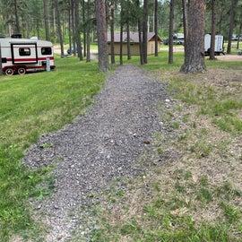 Gravel path to bathroom