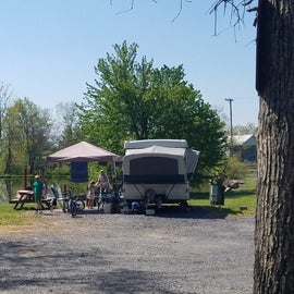 Campsites backing up to the fishing pond