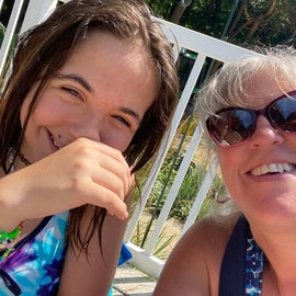 at the pool with the granddaughter