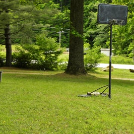 One of the activities at the campground is a basketball goal.