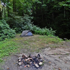 My tent beside the creek
