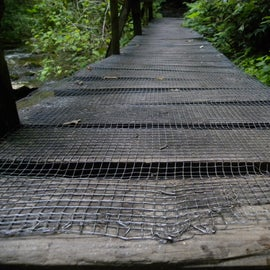 I was happy that they put wire mesh on this bridge.  The others were slippery.