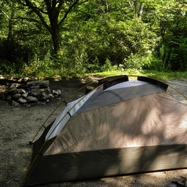 The campsite was flat, which is unusual in the western North Carolina mountains.