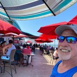 enjoying the band at the Sugar Barge Restaurant