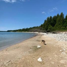 Beach area on south side of the island
