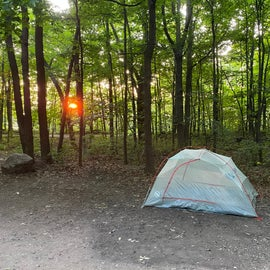 Sites 22 and 23 (a main hiking path is behind the tent and trees)