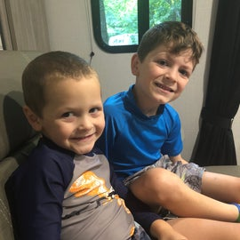 My boys getting ready for the pool!