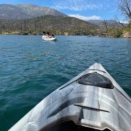 kayaking around Lake whiskeytown after Carr Fire