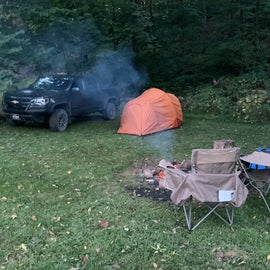 Secluded tent camping at Eagle City Park (lower campground)