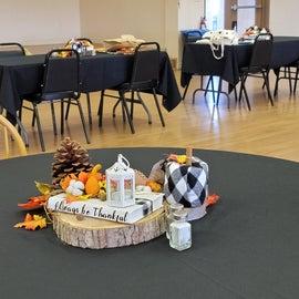 Thanksgiving dinner set-up.