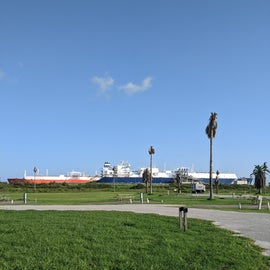 you can watch all the large tanker ships and container ships come in to port