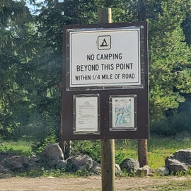 Opposite of the sign above you will notice this, all of the campsites beyond this point are shut down (including those on your coordinates)