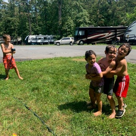 Eventually just let the kids squirt eachother off with a hose we got so desperate to cool off.