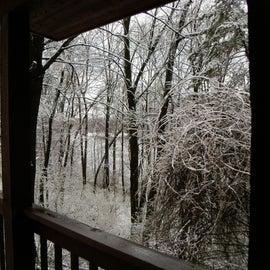 Backbone cabin snowfall (in April)
