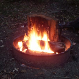 Campfire at the primitive campground