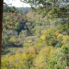Panorama from one of the overlooks at YRSF, showing the Paint Creek campground