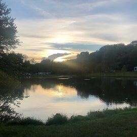 Fishing pond under the sunset
