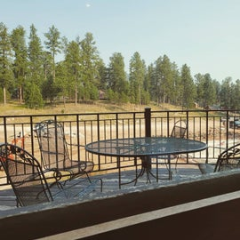 The view while.eating breakfast at the lodge.