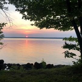 beautiful sun rise over the lake