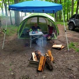 all set up at camp.