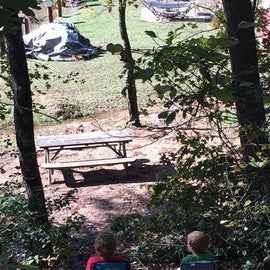 watching the bridge get rebuilt and campers dry stuff in group area