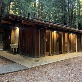 well lit single bathrooms, camp sinks