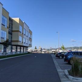 Hotel at entrance to marina and RV parking