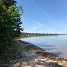 The beach along Cass Lake
