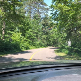 Driving into camp