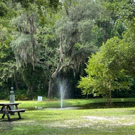 There are a handful of scattered picnic tables that likely could be used during the day for picnicking, like here, next to the lagoon